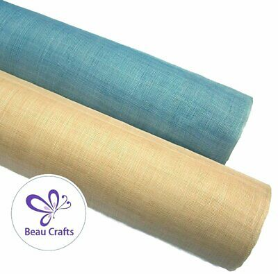 Sinamay Fabric for Millinery Hat Making Stiffened Light Blue Sand Mix 2 Pieces