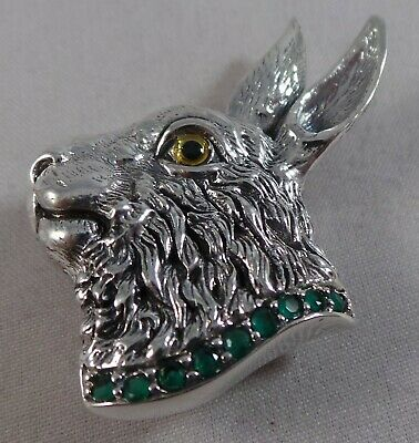 Superb Sterling Silver Emerald Rabbit / Hare Pin / Badge / Brooch And Pendant