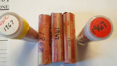 Five Uncirculated rolls of 1967-P Lincoln Memorial Cents.