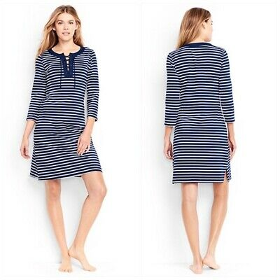 8706c60424 LANDS' END FRENCH Terry Swim Cover Up Dress M 10 12 Navy Blue Belted ...