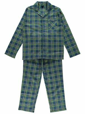 freepost size S small green blue check mens cotton flannelette pyjamas pj new