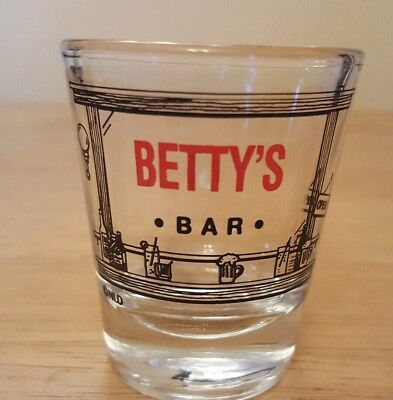 Betty's Bar Shot Glass Shotglass Barware Glassware Name Drink Open