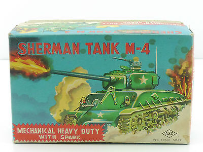 ASC NUR Originalkarton Box Sherman Tank Japan empty tin toy box OVP 1411-27-90
