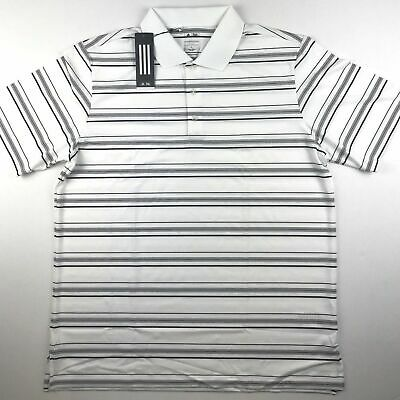 Adidas Mens XL Puremotion 3 Stripe Life White Black Striped Golf Shirt Polo