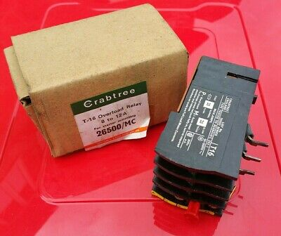 CRABTREE OVERLOAD RELAY 26500/MC  T-16  8 to 12A FOR STARTER MOUNTING