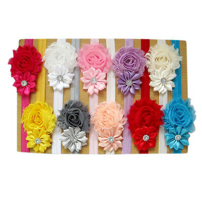 5pcs Elastic Newborn Baby Headdress Girl Chiffon Hair Band Flower Headband New