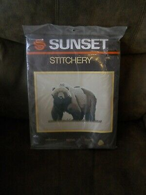 "Sunset Grizzly Bear Crewel Stitchery Kit Finished Size 14"" X 18"" Copyright 1984"