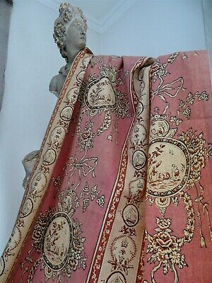 2   French antique Old Curtains Pink Cotton medallions 19th-century