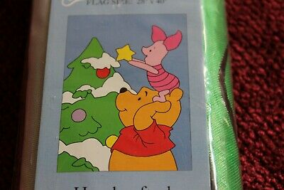 Winnie The Pooh Nylon Applique House Flag Holiday Christmas Piglet Pooh NEW