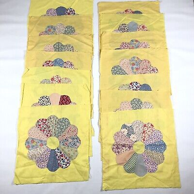 """14 Vintage Quilt Blocks Dresden Plate on Yellow Fabric, 16.5"""" x 16.5"""" Applique"""