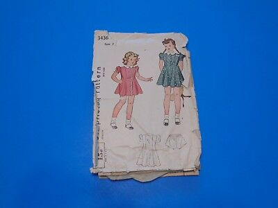 VTG 1930s Sewing Pattern Toddler Girls Dress & Panties Size 2 Simplicity 3436