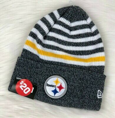 8df1a4ff3f9eb4 Pittsburgh Steelers NFL Cuffed Knit Winter Beanie Hat, Striped, New Era