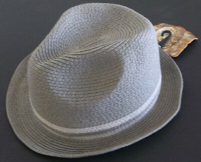 $26.99 NWT PUGS GEAR BROWN WHITE PLAID 100/% COTTON FRAYED FEDORA HAT