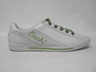 Nib Coach Malli Leather & Suede Tennis Shoes Sneakers 9M Style #A1119 Wht/Creen