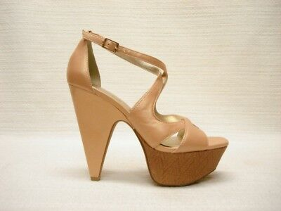 Nib Jessica Simpson Moccao Pearlized Sand Leather Strap Platform Sandals 8.5M