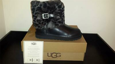 """NEW Kids UGG Australia """"Ellee Animal""""-WAS $180!-size 5 Blk Leather, spotted cuff"""