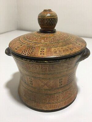 Antique Ancient Pyxis Greek Pottery Hand Made in Greece