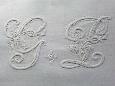 XL Antique French PURE LINEN sheet hand embroidered monogrammed HUGE Monogram GP