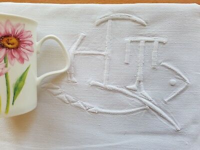 Antique French PURE LINEN hand embroidered sheet BIG Monogram HT TH monogrammed