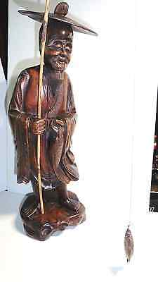 ASIAN CARVING Fisherman ANTIQUE Hardwood  40/50's era