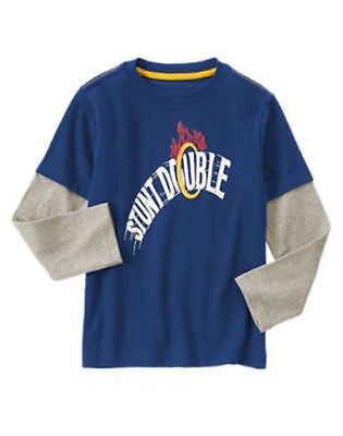 GYMBOREE JUNIOR STUNT DOUBLE Stunt Double RING DOUBLE SLEEVE TEE 5 6 7 8 10 NWT