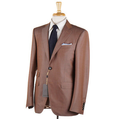 NWT $2395 CANALI 1934 Slim-Fit Caramel Brown Wool-Mohair 'Travel' Suit 40 R