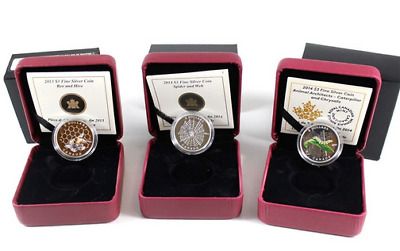 Lot of 2013-2014 Canada $3 Animal Architects Fine Silver Coins -  Bee , Spider a