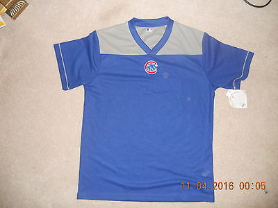 4147fcff3bb NWT Chicago Cubs Baseball Jersey Vneck Pullover Blue Gray Walking Bear Logo  Med