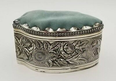 """5.75"""" x 3.25"""" ANTIQUE SILVER PLATED REPOUSSE BOX CUSHION TOP BY DERBY SILVER CO"""