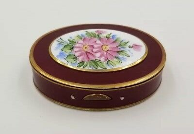 Bliss Ladies Powder Compact Red Enamel Hand Painted Floral Design *Orig Puff