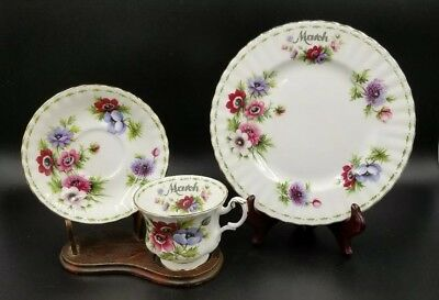 ROYAL ALBERT ~ Flower of the Month MARCH ~ Trio Set Tea Cup & Saucer & Plate  19
