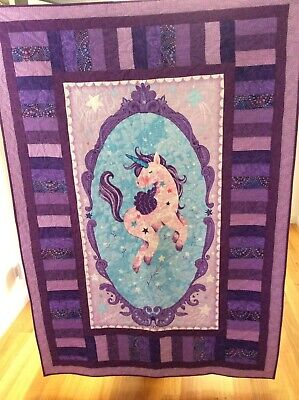 Handmade patchwork Quilt.purple/mauve unicorn (#81)