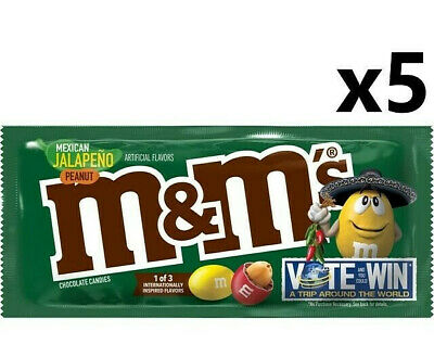 5 x USA M&Ms - Mexican Jalapeno Peanut - American Version - New/Limited Edition