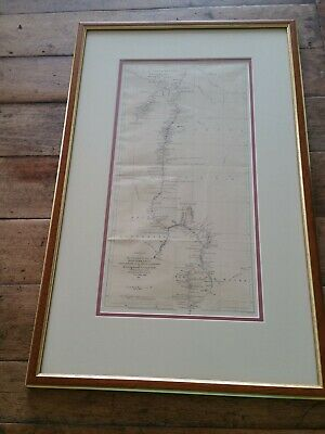 Antique Map Showing Expeditions of John McDouall Stuart Australia 1860 and 1861