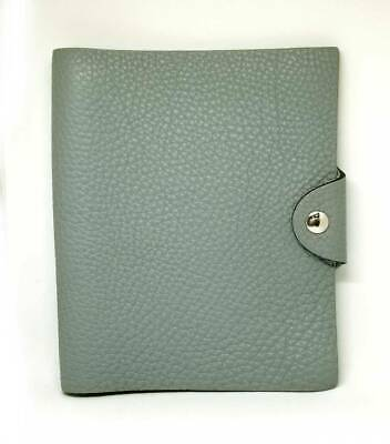 Auth HERMES schedule planner diary Yuris Leather Gray Blue notebook cover