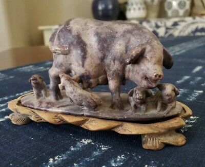 VTG Asian Carved Soapstone Sculpture Sow Piglets Statue Wood Stand 2019 Year Pig