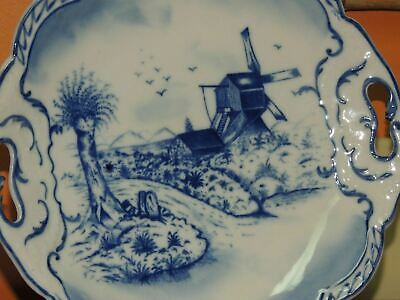"Hand Painted 10"" Plate w/ Handles Delft? Blue & White Windmill Antique Vintage"