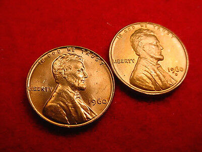 1960 P & D Small Date Lincoln Cents-2 Great Bu Coins!!!   #220
