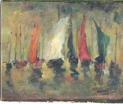 """Antique oil on board painting """"Seascape with sailboats""""  signed lower right"""