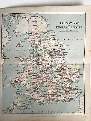 England and Wales 1880 Original Antique Railway Map Bartholomew, Philip