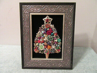 Framed Costume Jewelry Christmas Tree Art Pin Rhinestones Brooch