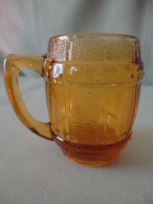 Hazel Atlas Amber GLASS MINI BARREL Keg Mug Shot Jigger Toothpick holder Premium