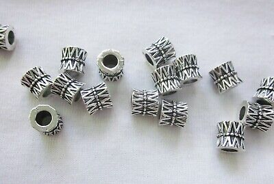 10 Antique Silver Coloured 8mm x 8mm Large Hole Spacer Beads (4mm Hole) #3317