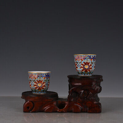 A pair Fine Chinese old Porcelain Qing qianlong mark colour enamels flower cup