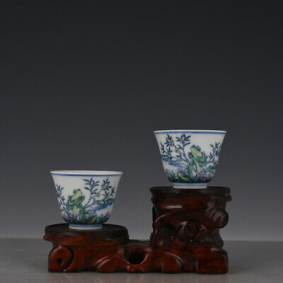 """3"""" A pair Chinese old Porcelain Yongzheng mark blue white doucai flower cup"""