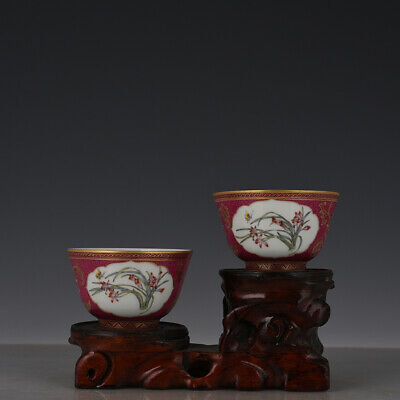 "3"" A pair Chinese old Porcelain Qing qianlong mark Carmine gilt gold flower cup"
