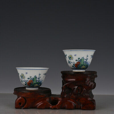 "3"" A pair Chinese old Porcelain Qing qianlong mark doucai Butterfly flower cup"