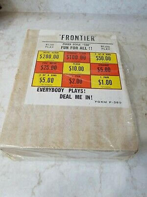 Vintage frontier poker style tabs Gambling pull tab game  Bar new  alcohol