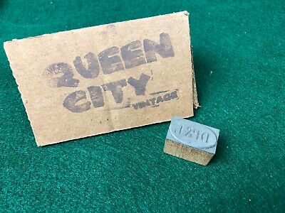 Vintage wood+metal letterpress printers block Dayton Power & Light, Ohio 1970s