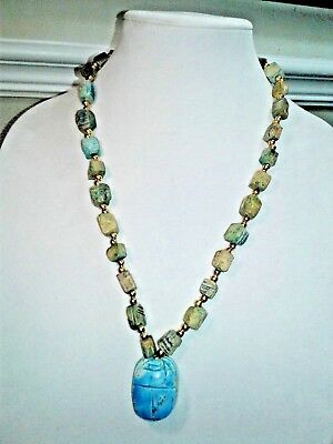 vintage necklace Egyptian Beetle Turquoise Soapstone Carved bead pendant scarab